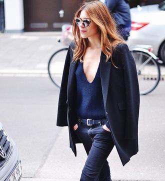 maja wyh blogger sunglasses jacket sweater pants navy knitwear v neck