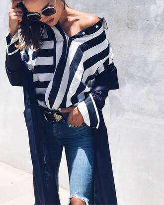 shirt tumblr stripes striped shirt denim jeans blue jeans ripped jeans kimono coat