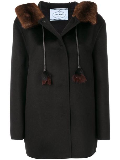 Prada coat hair women black wool