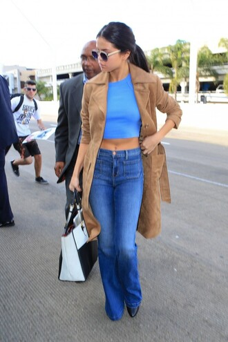 top jeans coat trench coat camel camel coat fall outfits selena gomez crop tops flare jeans