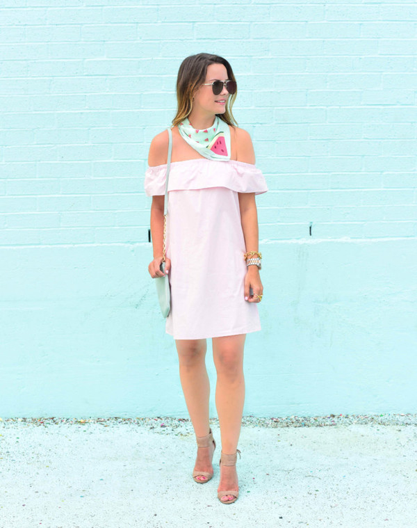 live more beautifully blogger scarf bag sunglasses jewels off the shoulder pink dress light pink mini dress ruffle shoulder bag sandals sandal heels