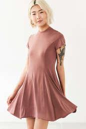 dress,pink dress,dusty pink,skater dress,short sleeve dress