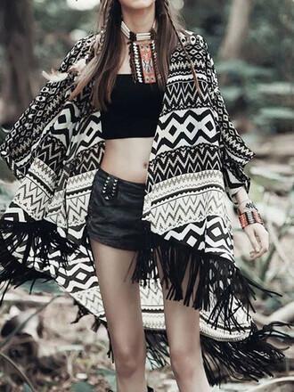 cardigan chiclook closet black and white tribal pattern boho chic