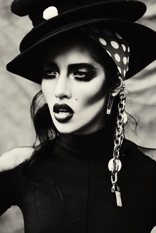 hat model beautiful black makeup oldfashioned style