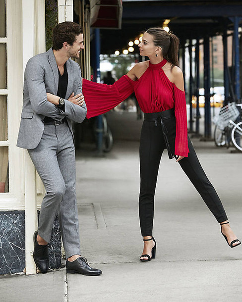 blouse red red top pants sandals emily ratajkowski pleated fall outfits