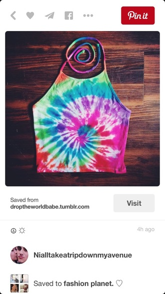 top halter top halter crop top crop tops crop rainbow tie dye shirt summer top