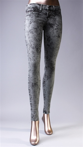 Acid Washed Skinny Jeans in Grey Flying Monkey @ Apparel Addiction - Jegging - Distressed - Colored - Gray Pant