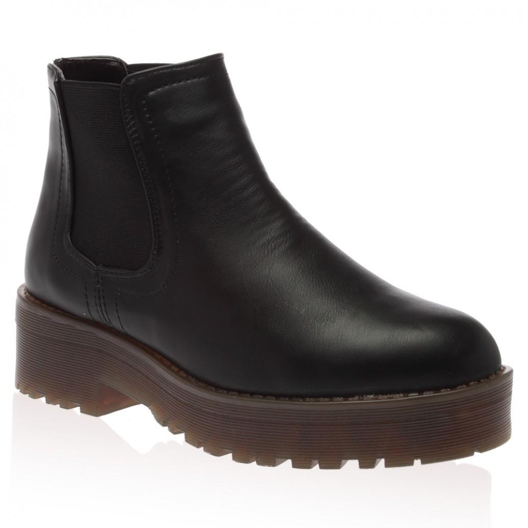Fliss black pu block heel boots