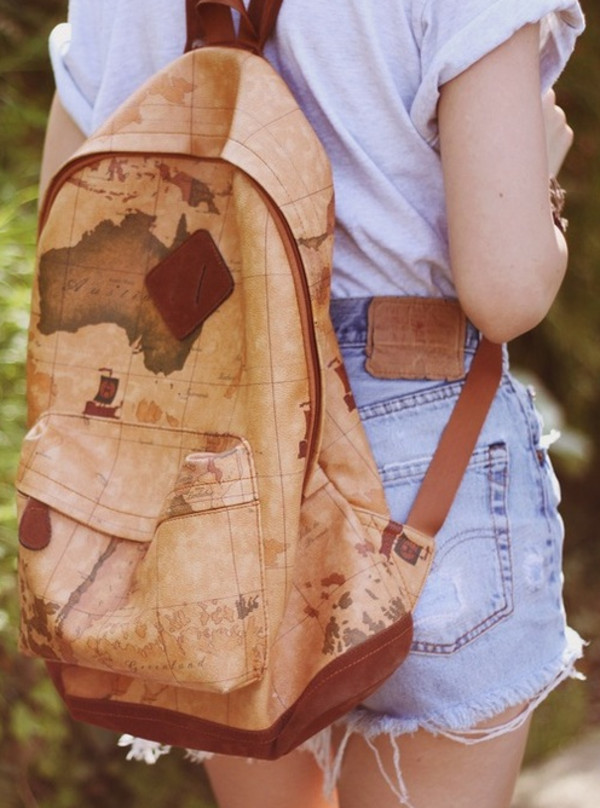 bag globe backpack map shirt shorts exploration explorer world travel