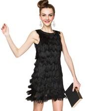dress,little black dress,little black fringe dress,fringed dress,fringe detail,black fringe dress,party dress,cocktail dress,night out dresses,pixie market,pixie market girl