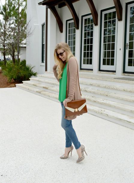 fash boulevard blogger top cardigan jeans shoulder bag bag shoes jewels