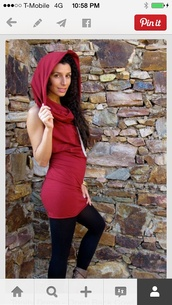 dress,hooded,red dress,red,bodycon dress,cowl neck