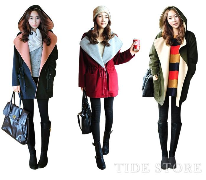 Charming Assorted Colors Hoody Turndown Collar Draw Cord Waist Trench Coat: tidestore.com