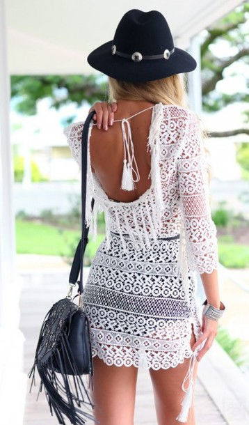 Dress: chrochet, black, white, black and white, lace ... Black And White Summer Outfits Tumblr