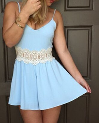 romper sammydress lace playsuit jumpsuit lace blue spaghetti strap dress top bottoms skirt shorts tanktop camisole sexy cute summer beautiful girly fashion outfit clothes