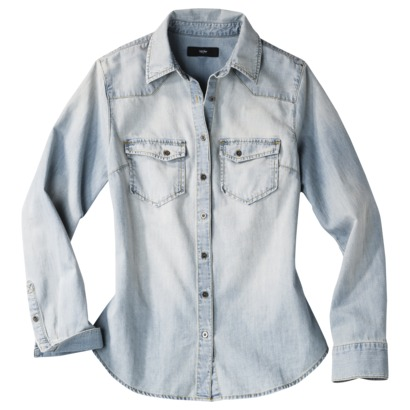 Mossimo® Women's Long Sleeve Denim Shirt - L... : Target