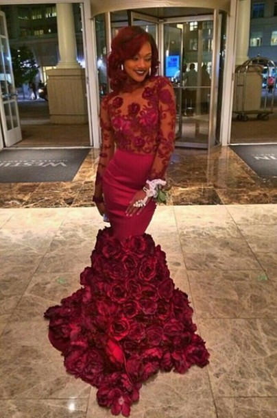 Burgundy Rose Bottom Sheer Prom Dress Red Prom Dress Burgundy