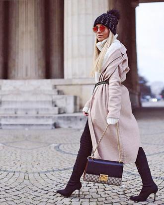 coat tumblr camel camel coat camel long coat boots black boots bag chain bag black beanie pom pom beanie beanie