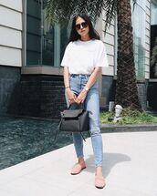 shoes,flats,pink flats,top,white top,jeans,denim,sunglasses,bag