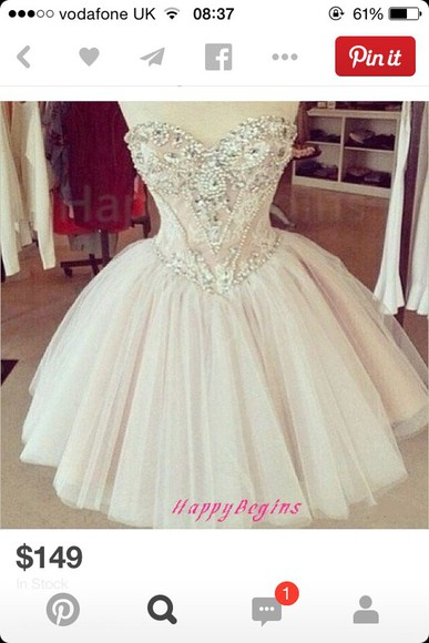 short prom dress cream jewels