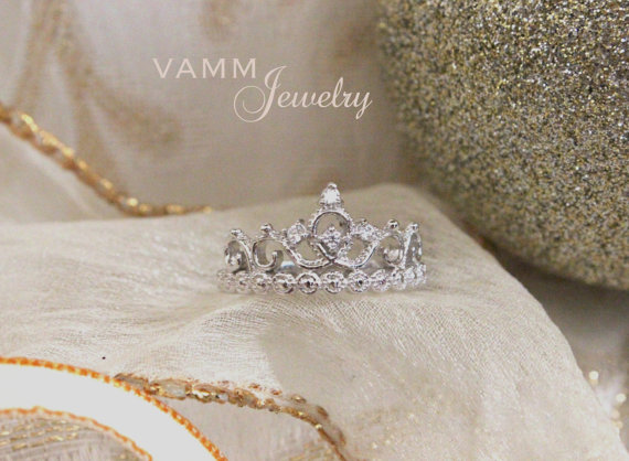 Princess crown ring sterling silver/white gold by vammjewelry