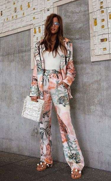 pants rocky barnes instagram blogger blogger style floral purse spring spring outfits jacket sunglasses top blazer white top bag sandals