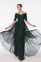 dress,bridesmaid,mother of the bride dresses,prom dress,forest green,prom dress with sleeves,modest prom dress,off the shoulder,formal dress,evening dress,plus size,dark green,chiffon prom dress