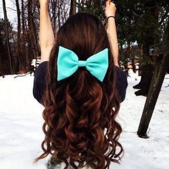 bow bows hair bow mint cute indie turquoise hair clip hair accessory hair curly hair long blue