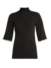 sweater,wool sweater,short,metallic,black,wool