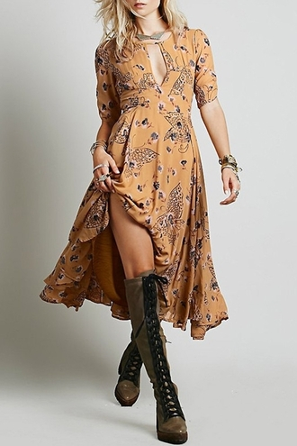 dress summer dress casual zaful knee high boots boots free people fall dress autumn/winter boho dress long dress maxi dress slit maxi skirt fall outfits brown brown leather boots stylish shoes fall colors