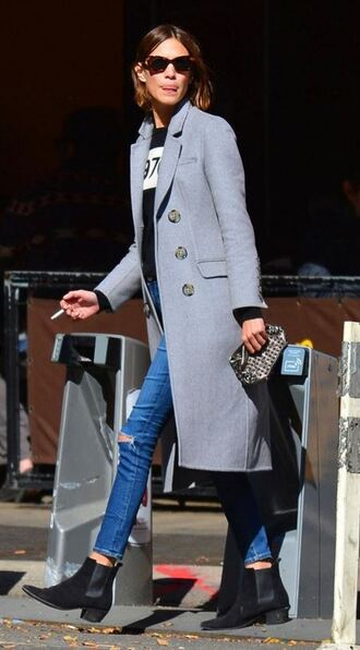 coat alexa chung ankle boots fall outfits jeans