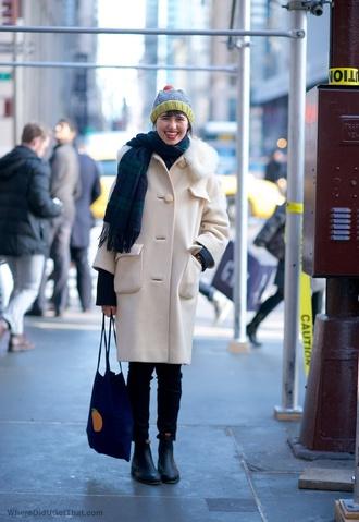 where did u get that blogger winter coat tartan scarf tote bag