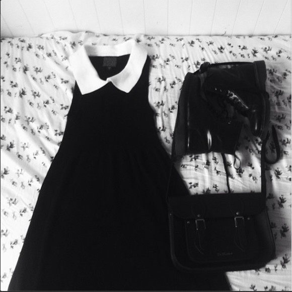 white bag dress satchel black little black dress punk hipster hipster punk DrMartens