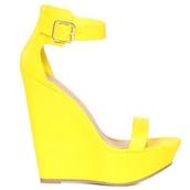 shoes,wedges,yellow,heels,wedge sandals,neon yellow,sandal heels,high heel sandals,spring,cute,prom