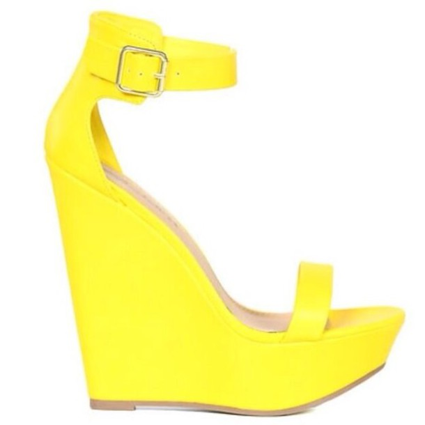 4bb9bbbc4d shoes wedges yellow heels wedge sandals neon yellow sandal heels high heel  sandals spring cute prom