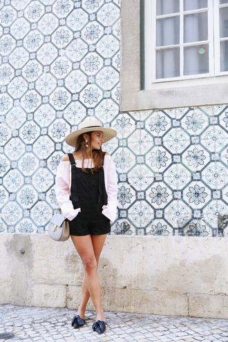 seams for a desire blogger hat bag jewels overalls black overalls long sleeves shoulder bag mini bag straw hat
