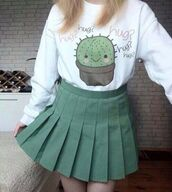 sweater,cactus,kawaii,hug,green cactus,white sweater,green skirt,pleated,back to school,harajuku,fever,cute,teenagers,skirt,tumblr,grunge,green