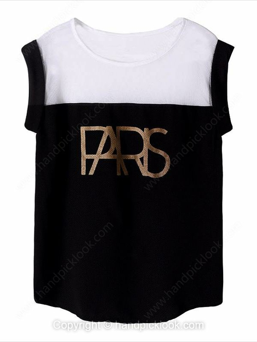 Black Round Neck Sleeveless Letter Print T-Shirt - HandpickLook.com
