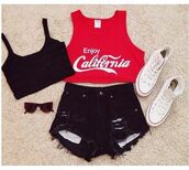 shirt,red,tank top,top,crop tops,cali,california,cola,coca cola,sweet,cool,shorts,shoes,white all stars,t-shirt,converse,denim,black,black shorts,bralette,shades,sunglasses,cut off shirt,party,party outfits,outfit,red top,black sports bra,black jean shorts