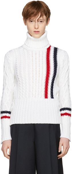 Thom Browne turtleneck white knit sweater