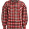 Embellished collar check shirt - red