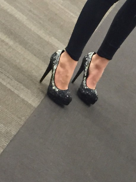 shoes high heels rhinestones black heels