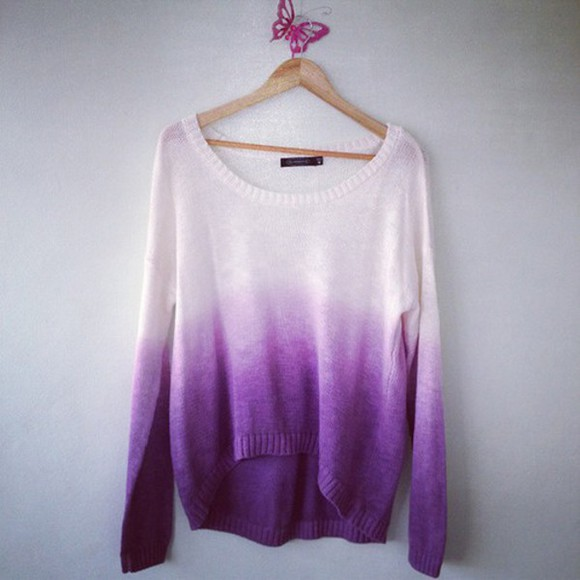 oversized sweater casual purple ombre slouch