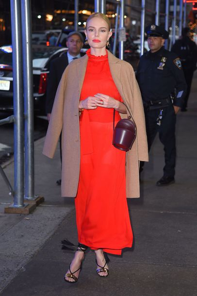 dress red dress red midi dress sandals kate bosworth coat