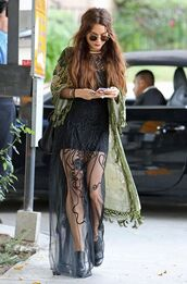 dress,vanessa hudgens,maxi dress,hippie,jewels,sunglasses,black dress,cardigan,boho jacket,glasses,lace,gorgeous,hipster,green,black,mesh,transparent,see through,boho,kimono,coat,maxi,skirt,round sunglasses,casual,blouse,festival,jacket,cute dress,summer dress,grunge,lace dress,boho dress,flowy,sheer,bohemian dress,coachella,gloves,vanssa hudgens black lace,celebrity style,beautiful,black maxi hippie laced dress,long black dress,olive green cardigan,shoes,see through dress