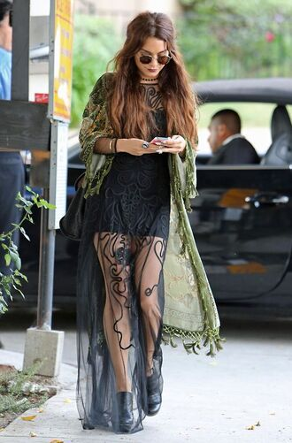 dress vanessa hudgens maxi dress hippie jewels sunglasses black dress cardigan boho jacket glasses lace gorgeous hipster green black mesh transparent see through boho kimono coat maxi skirt round sunglasses casual blouse festival jacket cute dress summer dress grunge lace dress boho dress flowy sheer bohemian dress coachella gloves vanssa hudgens black lace celebrity style beautiful black maxi hippie laced dress long black dress olive green cardigan shoes see through dress