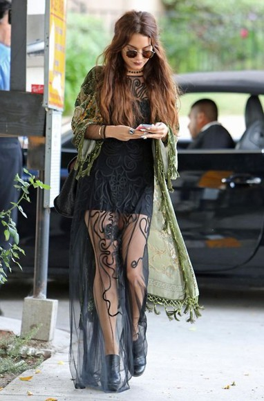 dress vanessa hudgens festival boho hippie boho gypsy maxi dress hippie jacket green gothic glasses lace gorgeous black lace hipster little black dress skirt lace skirt black vanessa hudgeons maxi long chiffon over dress round sunglasses kimono green kimono long black dress long dress black lace dress