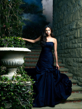 navy dress long dress nina dobrev the vampire diaries