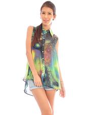 shirt,galaxy print,clothes,asymmetrical,bag