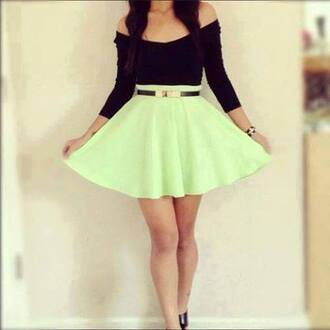 dress clothes belt top skirt skater skirt crop tops blackshirt lime amazing bright green skirt black off shoulder top black gold